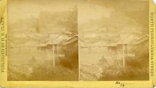 STEREO, D.R. Clark, Temple and cimetière, Asie, vintage albumen print   Vintage