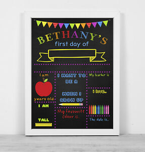 A4 or A3 Personalised framed blackboard print wipe clean first day school bright