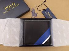 POLO RALPH LAUREN Bi-fold Wallet Black Sporty Stripe Leather Slim Wallets BNIB