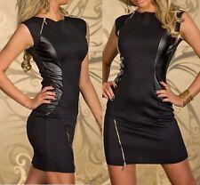 Women's patchwork sleeveless Zipper Sexy Bodycon black Fashion dress D191 S-M