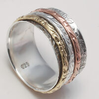 Solid 925 Sterling Silver Spinner Ring Meditation Ring Statement Ring Size SR750