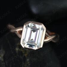 Twistd Engagement Ring 10K Rose Gold 3.00 Ct Emerald Cut Simulated Diamond Bezel