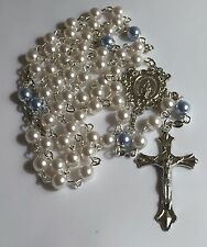 Swarovski Elements Crystal Pearl Little Boys Rosary Beads Christening Communion