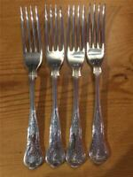 4 x Vintage Silver Plated EPNS Kings Pattern Forks A1 18cm Made in England