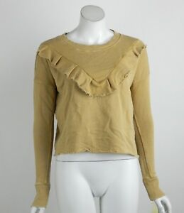Free People We The Free Ooh La Ruffle Pullover Top Cropped Ribbed Trim XS New