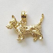 14k Yellow Gold TERRIER DOG 3D Solid Pendant / Charm, Made in USA