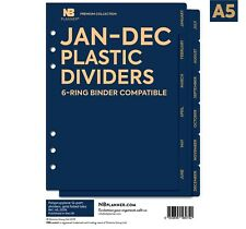 12-Month Plastic dividers with Gold foiled tabs Filofax A5 Compatible refill