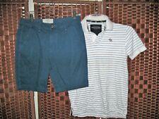 Hollister blue shorts 30 Abercrombie Kids polo shirt XL 16 18 yrs teen boys set