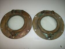 "Vintage Solid Bronze Brass Ship Boat Portholes PAIR 8-1/2"" OD, Exc. Condition"