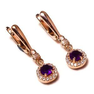 925 Sterling Silver Rose Gold Plated Amethyst Gemstone Drop Dangle Earrings