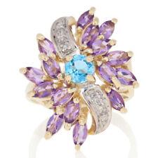 2.62ctw Round Cut Blue Topaz, Amethyst, & Diamond Ring - 10k Gold Floral Bypass