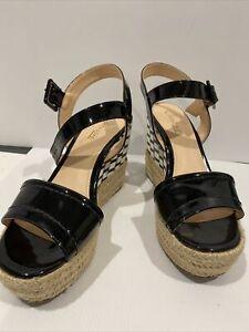 Chrissie Brazil Size 38/8 Black White Check And Raffia Heel Black Leather Sandal