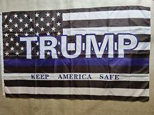 Trump 2020 KEEP AMERICA SAFE President FLAG BLUE LINE MAGA Keep America Great
