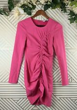 & Other Stories Hot Pink Ruched Dress Long Sleeve Size 4 Mini