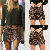 Women Elastic High Waist Slim Sexy Pencil Bottoms Leopard Club Party Mini Skirts