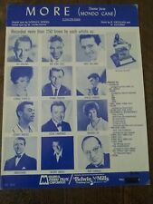"""More""  Theme From Mondo Cane Vintage 1964 Sheet Music"