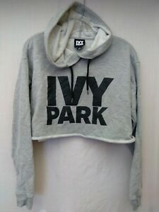 Ivy Park Cropped Grey Hoodie Sweatshirt Pullover Size S Small