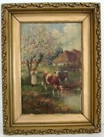 ANTIQUE 19 c OIL ON CANVAS PAINTING WITH COWS, SIGNED
