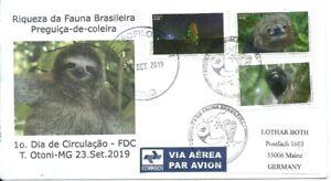 BRAZIL 2019 Brazilian FAUNA Sloth, Monkay, Termite Mound on JE FDC