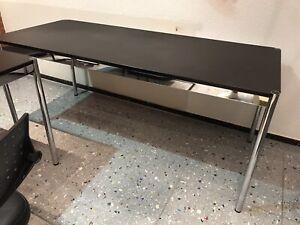 USM Haller Schreibtisch Schwarz Chrom  75 X 175cm