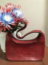Leaders In Leather Hand Tooled Red Leather Hobo Handbag Purse EUC