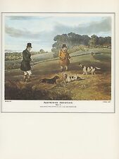 "1974 Vintage HUNTING ""PARTRIDGE SHOOTING #4"" POINTERS DOGS COLOR Art Lithograph"