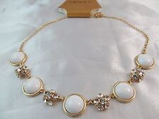 Monet Gold With Crystal & White Stones Statement Necklace