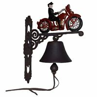 Motorcycle Motorbike Bike Rider Bell Gate Cast Iron Sign Plaque Door Wall House