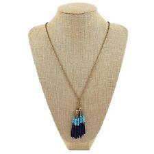 J CREW Gold Tone Chain Blue Seed Bead Long Tassel Fringe Necklace Boho Chic