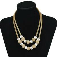 18K Gold Plated Double Layer Pearl Pendant Chain Choker Necklace Women Jewelry