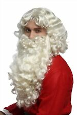 Perruque Barbe Lot de Luxe Père Noël Santa Claus St.Nicolas Dieu Blond Clair