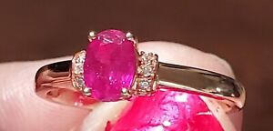Ilakaka Hot Pink Sapphire with cambodian zircon rose gold over SS s.7 1.15 ctw
