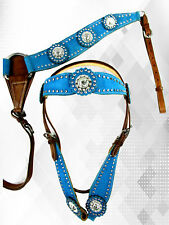 CUSTOM HEADSTALL BREASTCOLLAR SET BLUE LEATHER HORSE SHOW TRAIL BRIDLE TACK