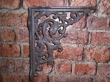 Par de estilo victoriano de hojas de hierro fundido soportes para estantes 15 cm x 20 cm