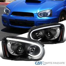 For 04-05 Subaru Impreza WRX LED DRL Tube Black Projector Head Lamps Signal Pair