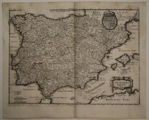 SPAIN PORTUGAL GIBRALTAR 1646 MERIAN SCARCE ANTIQUE ORIGINAL COPPER ENGRAVED MAP