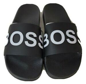 Men's Sandals BOSS Hugo Boss Bay Slide by BOSS black & white logo beach slides