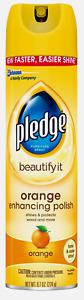 PLEDGE Orange Clean Scent Furniture Polish Spray Dusting Polishing 9.7 oz. 72373