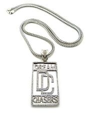 "NEW ICED OUT MEEK MILL "" DREAM CHASER "" PENDANT & 36"" 4mm FRANCO CHAIN."