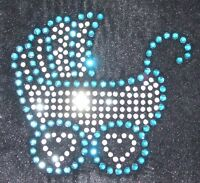 BABY PRAM BLUE CL iron-on CRYSTAL diamante GEM TRANSFER