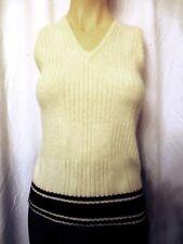 Chaus Vintage Sweater Vest Womens Medium Lambswool Angora Ivory