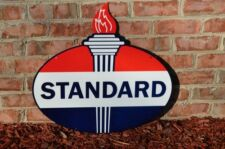 """OLD STYLE 23.5"""" STANDARD AMERICAN MOTOR OIL GAS TORCH 2SIDESTEEL SIGN USA MADE!"""