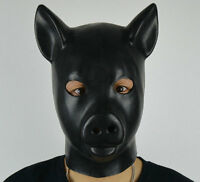 Latex Rubber Black Pig Mask Full Head Gum Hood Fetish Animals Stag Night Gimp