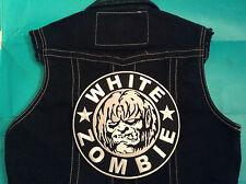 White Zombie Girls Denim Cut-Off Waistcoat Vest Jacket Rob Dragula Living Dead