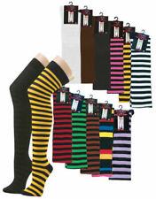 1 Paar Bunte Overknees Halterlose Strümpfe Socken Kniestrümpfe Raute Ringel