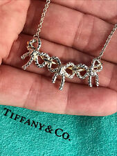 Tiffany & Co 18Ct 18K Gold Sterling Silver Triple 3 Bow Ribbon Pendant Necklace
