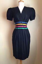 Albert Nipon Neiman Marcus Vtg 80's Black Bow trimmed waist Dress Sz 4