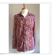 Isabel Marant Red & Pink Paisley Pattern Long Sleeve Top - Sz 40