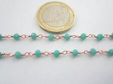 1 metro catenina rosario color rosè concatenata cristalli verde tiffany 3,5 mm