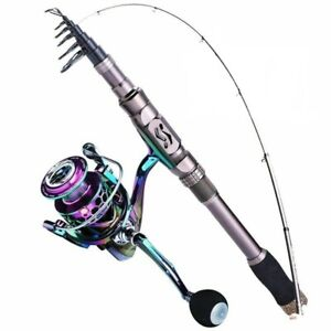 Telescopic Fishing Rod And Reel Combo Travel Carbon Fiber Pole 13+1BB 1.8-3.0m